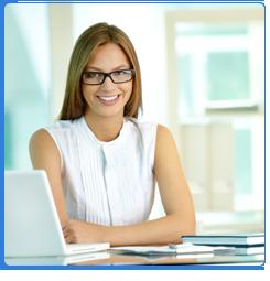 Beautiful Woman Working in Her Laptop
